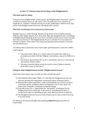 Lecture 17 Debates about the heritage of the Enlightenment.docx