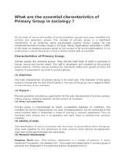 essential of primary groups