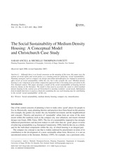 The Social Sustainability of Medium Density Housing A Conceptual Model and Christchurch Case Study