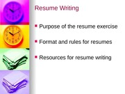 Resume and Memo Writing Spring 2009