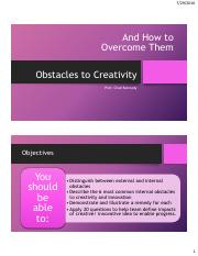 Obstacles to Creativity and How to Overcome Them