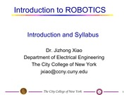 EE I5501 Lecture on Robotics (Part 1)