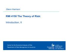 Harrison -- RMI 4150 Theory of Risk 1 -- Introduction -- II