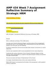 AMP 434 Week 7 Assignment Reflective Summary of Strategic HRM