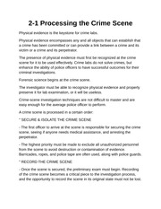 Processing the Crime Scene Notes
