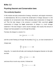 Poynting Theorem and conservation laws