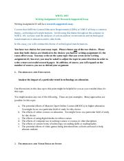 wrtg101 writing assignment 2 writing assignment 2 Writing assignments considerations for writing assignments types of writing assignments freshman rhetoric courses require at least 30 pages of writing that the instructor reads and responds to, and that counts towards the student's final grade in some way.