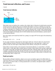 Total internal reflection, and Lenses