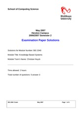 Examination Spring 2007 Solution on Knowledge Based Systems for Business