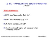 Lecture 9 on Network Layers