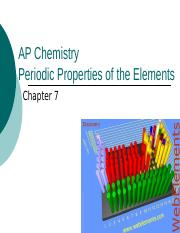 Periodic Properties of the Elements (Ch 7)