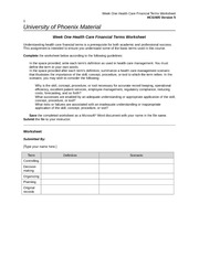 Week One Health Care Financial Terms Worksheet