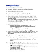 Thesis Statement Tips
