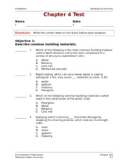 Chapter 04 Test - Firefighter I Building Construction Chapter 4 Test