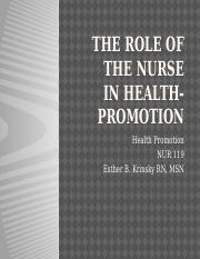 HP- Week 2-Role of the nurse in Health Promotion.pptx