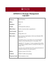 Adm 4311 Strategic Management University Of Ottawa Course