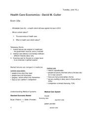 Lecture 5, Health Care Economics