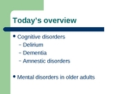 L23 - cognitive disorders