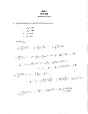 ST472 F10 Quiz 6 Solution