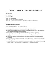 Week 1 Lecture Topics - Basic Accounting Principles