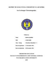 REPORT OF ANALYTICAL CHEMISTRY II LAB7