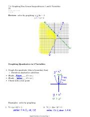 7.4  Graphing Non-Linear Inequalities in 1 and 2 Variables (I)
