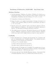 Final Exam Study Guide on Foundations of Mathematics