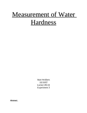 Measurement of Water Hardness Write Up
