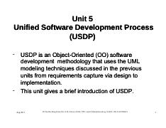 Part 1 Unit 5 Unified Software Development Process 1 1 Pdf Unit 5 Unified Software Development Process Usdp Usdp Is An Object Object Oriented Oo Course Hero