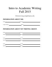 Introduction to Academic Writing 2015