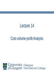 Lecture 14 - Cost-volume-profit analysis