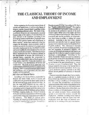 The Classical Theory of Income and Employment