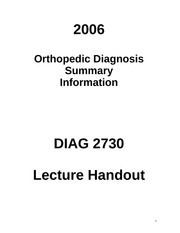 DIAG 2730 Lecture Summary, Key Info and Terminology