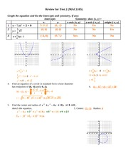 Exam 2 Study Guide Solution on College Algebra
