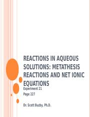 Experiment 21 - Reactions in Aqueous Solutions