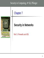Chapter 7 - part 3- Firewalls and IDS
