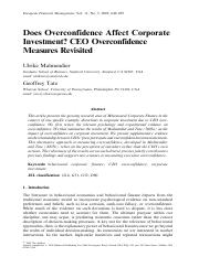 Malmendier_Tate - Does Overconfidence Affect Corporate Investments [CEO Overconfidence Measures Revi