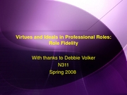 Virtues and Ideals role fidelity Spring 2008