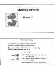 Chapter 14 Notes - Chemical Kinematics