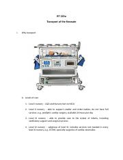 Outline Transport of the Neonate