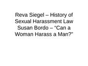 13 - Sexual Harassment - Siegel and Bordo