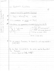 Notes on Quadratic Functions, Polynomial Division