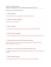 weathering and mass wasting worksheet_Q&A