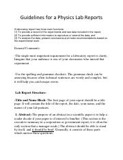 Guidelines for a Physics Lab Report