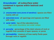 Groundwater - Lecture Slides for Exam 4