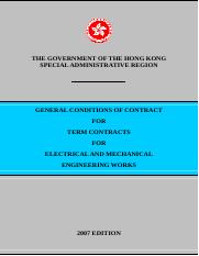 HKSAR, General conditions of contract for Term contracts for Electrical and mechanical engineering w