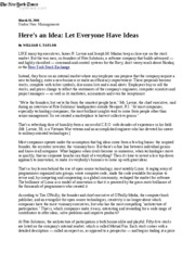 Let Everyone Have Ideas March 26 2006 NYT