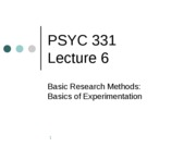 PSYC 331 Lecture 6 -- Basics of Experimentation