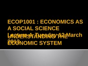 Lecture 4 [Understanding the economic system]