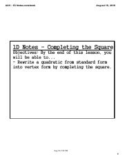 A2H - 1D Notes - Completing the Square